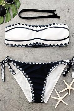 Floralkini Black And White Bandeau Bikini Set – FloralKini