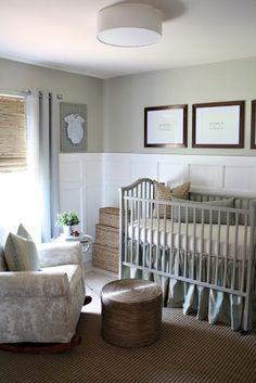 30 Gender Neutral Nursery Design Ideas | Kidsomania Calming Nursery, Grey Nursery Boy, Baby Nursery Neutral, Nursery Rocker, Natural Nursery, Wainscoting Nursery, Wainscoting Ideas, Wainscoting Height, Wainscoting Hallway