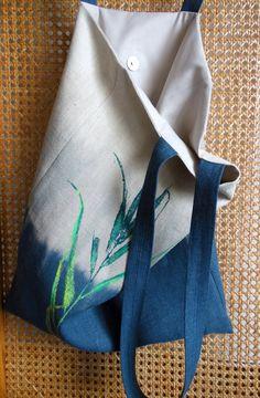 Floral Linen Tote Bag Natural Linen Bag Hand Painted Bag