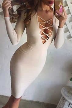 Solid Color Plunging Neck Breast Hollow Out Bodycon Dress For Women