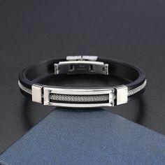 12mm Men Casual Stainless Steel Bracelet Silicone Chain Trendy Bracelets  men women fashion jewelry