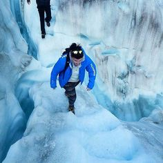 Hiking up Fox Glacier in New Zealand.  Spectacular in a cool blue coat!  Photo from @ gracep06 Instagram