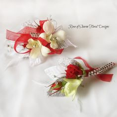 Rose of Sharon Floral Designs, Red and White Corsage and Boutonniere