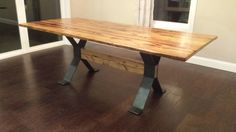 FREE SHIPPING: Trestle-Style Steel Dining by TimberForgeWoodworks