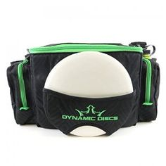 Dynamic Discs Soldier Cooler Disc Golf  Bag -  Removable zippered insulated cooler compartment comfortably holds six 16 oz cans.   Holds 10-12 discs in the main compartment (with cooler in use) and two putters in the putter pocket.  Holds 18+ discs in the main compartment (with cooler removed) and 2 putters in the putter pocket.