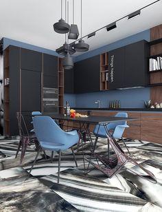 Apartment Kitchen Layout Modern New Ideas Kitchen Marble, Wood Interior Design, Interior Decorating, Kitchen Flooring, Interior, Home, Kitchen Table Wood, Interior Design, Kitchen Design