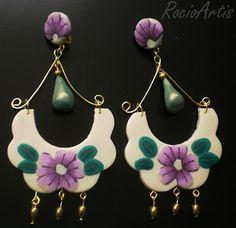 Pendientes de flamenca en arcilla polimérica. Polymer clay handmade earrings