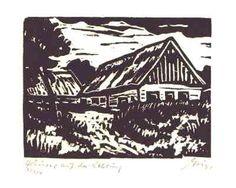 Häuser auf der Nehrung - original Holzschnitt - Franz Grickschat Nr 119 signiert
