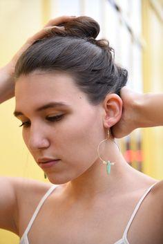"Boucles d'oreilles ""ALOES VERA"" pierres amazonites, quartz et plaqué or 18…"