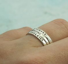 Mothers Rings - personalized ring with your child's name in sterling silver by Kathryn Riechert (Tiny Text)