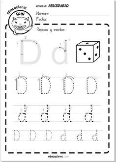Repasa la letra D en mayúscula y minúscula #lectoescritura #leer #letra y Juega con LEO CON GRIN www.educaplanet.com #apps