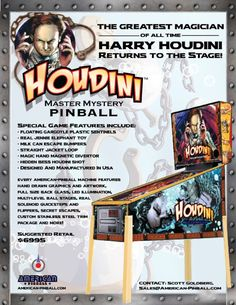 American Pinball has unveiled their new Houdini-themed pinball (2016).