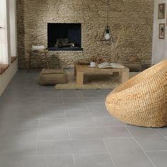 Carrelage sol gris Pireo 30 x 60 cm - CASTORAMA - Sélectionné juste pour la te. Grey Interior Design, Living Room Inspiration, Sweet Home, Living Room Modern, House, Home Decor, Fireplace, Home Deco, Deco
