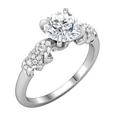 Gorgeous Design and Affordable Round Shape Diamond Engagement Ring - OUR PRICE: $899.99 - http://www.mybridalring.com/Rings/14k-white-gold-round-shape-semi-mount-engagement-ring/