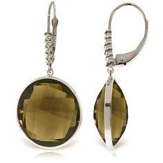 Smoky Quartz and Diamond Drop Earrings 34.0ctw in 9ct White Gold #Gemstones #Jewellery #GemstoneJewellery