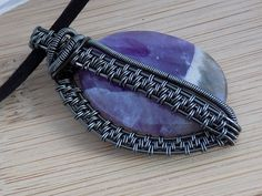 Hematite Wire Wrapped Amethyst Pendant Wrapped Jewelry Handmade Scifi Renaissance Amulet Medallion
