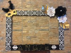 Black gold white Masquerade photo booth for a phantom of opera theme birthday party. Damask patterns, masquerade and flowers made with cardstock. Letters are made with foam and sprayed with gold glitter. Made by me ⚔️