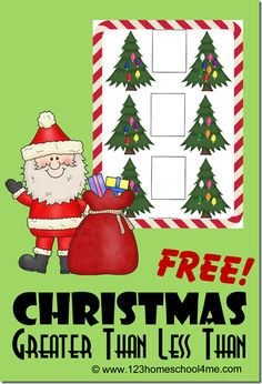 FREE Greater than Less than Worksheets - super cute free printable Christmas math worksheets to help Kindergarten, grade, and grade students practice greater than and less than with a fun Christmas twist. Christmas Math Worksheets, Christmas Activities For Kids, Free Christmas Printables, Christmas Games, Christmas Ideas, Christmas Crafts, Printable Worksheets, Free Printable, Free Worksheets