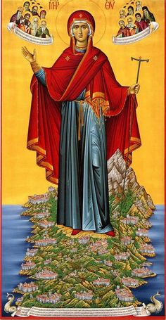 Icon of Panagia of the Holy Mountain, Mount Athos Byzantine Icons Religious Pictures, Religious Icons, Religious Art, Orthodox Catholic, Orthodox Christianity, Byzantine Icons, Byzantine Art, Blessed Mother Mary, Blessed Virgin Mary