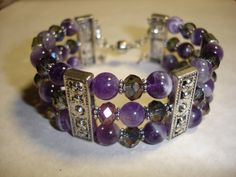 DIY Gemstone Memory Wire Cuff Kit in Amethyst. by Zilchbeads
