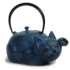 "Reclining cat with raised paw cast iron teapot (tetsubin) in style of Japanese maneki-neko (literally ""beckoning cat"") lucky cat figures, bail handle, c. 2010s, Japan"