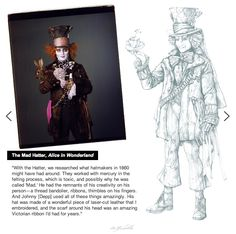 Colleen Atwood created many of the costume designs for the movie Alice in Wonderland. Her Mad hatter costume truly shows someone is tipping on the edge of insane. With the worn hat, shredded clothes, and odd pieces of patched cloth he looks mad. The costume reflects the character and their function in the story.