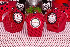 Cute favors at a Ladybug Party.  See more party ideas at CatchMyParty.com.  #ladybugpartyideas