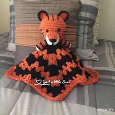 Tiger Lovey Blanket Crochet Crochet Lovey, Blanket Crochet, Lovey Blanket, Handmade Crafts, Baby Car Seats, Children, Christmas, Amigurumi, Yule