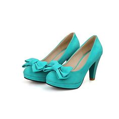 Suede Women's Chunky Heel Heels Pumps/Heels Shoes with Bowknot(More Colors) – GBP £ 26.23