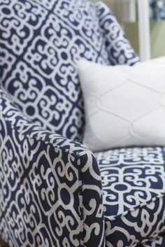 Thibaut Fine Furniture Showroom in High Point, located at # 315 Historic Market Square. Seen here: Salem Wing Chair in Shoji #fabric in Navy with pillow in Theresa Trellis in White. #ThibautFineFurniture #Thibaut