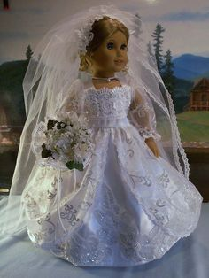 Glittering Bride Fits American Girl Dolls Elizabeth Samantha Marie Grace   eBay