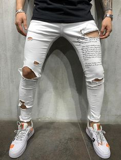 Men's, Street Style, White, Ribbed Jeans, 4447 Source by kjselections Ripped Jeans Style, White Ripped Jeans, Denim Jeans, Men Street, Street Wear, Slim Fit Mens Jeans, Repair Jeans, Streetwear Jeans, Destroyed Jeans