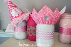painted and beribboned jars for a pink birthday