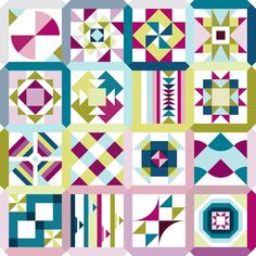 """Welcome to the 2020 Summer Sampler! Join us for a summer of low-stress sewing! """"Summer Sampler Easy-Piecing Summer"""" brings you 16 quilt block designs that are easier than they look . This block-of-the-week program will help you create an amazing quilt Modern Quilt Patterns, Quilt Block Patterns, Pattern Blocks, Quilt Blocks, Modern Quilting, Patchwork Quilting, Hexagon Quilt, Patchwork Patterns, Cluck Cluck Sew"""