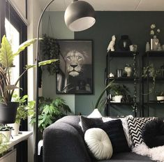 Lots of greenery (the walls and all plants) in the interior of Bojoura - Shopinstijl.nl Best Picture For vintage decor For Your Taste You are looking . Living Room Green, Paint Colors For Living Room, Home Living Room, Interior Design Living Room, Living Room Designs, Living Room Decor, Bedroom Decor, Home Decoracion, Living Room Inspiration