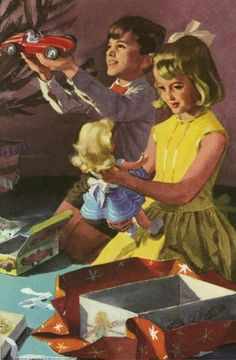 """""""Opening Presents on Christmas Day"""" from the Ladybird 'Peter & Jane"""" book """"Look at This"""""""