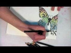 ▶ easy_inktense_butterfly_card_and_envie - YouTube. Easy watercolor/rainbow effect using Inktense pencils