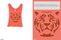 Be fierce. Be strong. Be fabulous. Be you. The glitter tiger shirt. Any color. Any shirt style. At Hipkraft.com. #hipkraft #tiger #namaste #authentic #fierce #tiger #glitter #om #crop #coral #summer