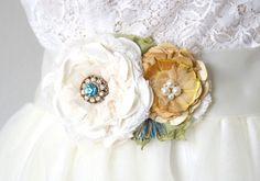 Floral wedding sash in aqua blue and yellow. Beach wedding style! by Rosy Posy Designs
