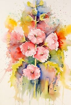 Gorgeous #Brusho Hollyhocks by Joanne Thomas available soon only on ArtTutor!