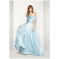 Pale Blue The Pegasus Dress ($289) ❤ liked on Polyvore featuring dresses, gowns, pale blue, blue bridesmaid dresses, formal evening gowns, formal gowns, formal dresses and formal ball gowns