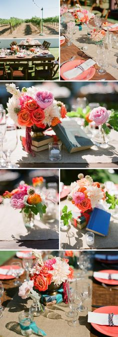 vibrant winery wedding flowers. photo, michael and anna costa. flowers, kelly oshiro design.
