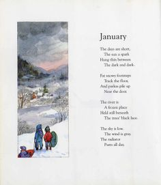 "Read Me A Story: January - Find ""January"" in A Child's Calendar, a collection of twelve of John Updike's poems that describes a child's journey through the seasons from January through December  (c. 1965)."