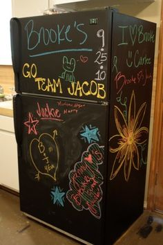 Chalkboard refrigerator - one of 12 unique chalkboard ideas eclecticallyvintage.com