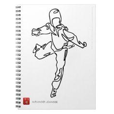 Notebook with spiral TAEKWONDO DWICHAGI back kick - minimalist office gifts personalize office cyo custom