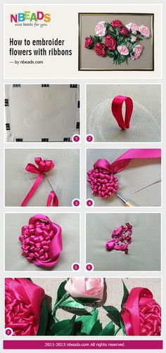 bead crafts : How to Embroider Flowers with Ribbons â?? Nbeads