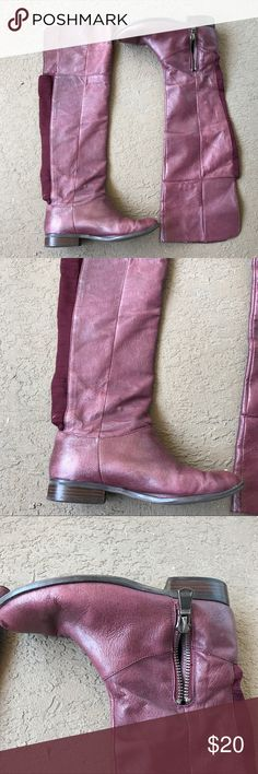 Chinese Laundry Leather Over the Knee Boots Preloved. Scratches, spots, and wear shown in photos. These boots can be fixed up like new with some leather conditioner. Cleaning out my closet so selling for a low price. These will be great for fall! Extremely comfortable and flexible. ❣️ Chinese Laundry Shoes Over the Knee Boots