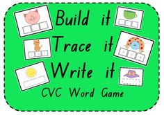 24 common CVC words are focused on in this game, including: dog, hat, bus, etc. Great for a literacy center!!!
