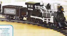 Boys Train Set Light Sounds Silver Black Western Express 22pc USPS Priority Fast #KidsConnection