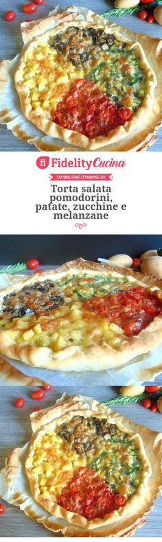 Torta salata pomodorini, patate, zucchine e melanzane